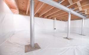 Crawl space structural support jacks installed in Concord
