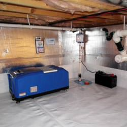 a crawl space vapor barrier and insulation system installed in a home in Thomaston